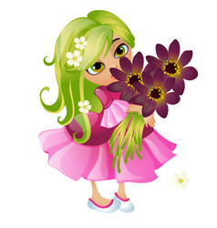 cute young animated girl with green hair and a vector image