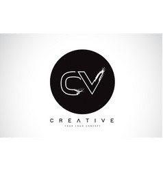 Cv modern leter logo design with black and white vector