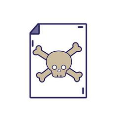 Danger skull bones alert inside paper vector