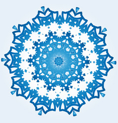 decagonal blue and white snowflake on light blue vector image