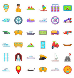 Different transport icons set cartoon style vector
