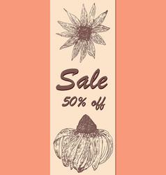 discount voucher sale floral ornament ink vector image