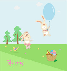 easter bunnies playing around vector image