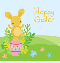 easter bunny and egg in field vector image