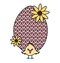 Egg painted with little chick easter celebration vector