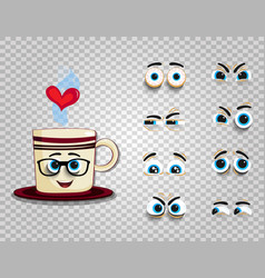 Emoji cup in glasses with eyes kit for creating vector