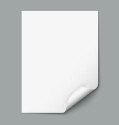 Empty paper sheet with curled corner vector