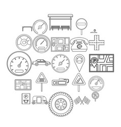 engine icons set outline style vector image