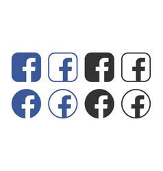 facebook icons set logo social vector image