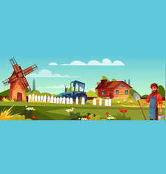 farmer man at agriculture farm vector image