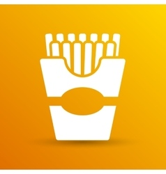 Fast-food French fries logo in a box style vector image