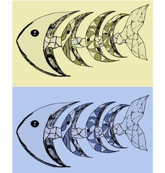 Fish with bones abstract set vector