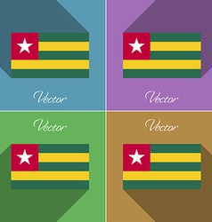 Flags Togo Set of colors flat design and long vector image
