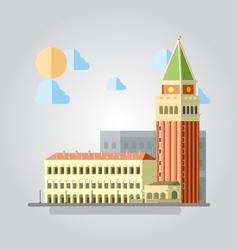 Flat design of Italian building cityscape vector image