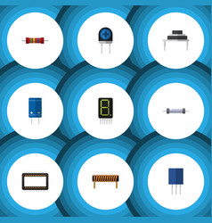 flat icon device set of bobbin resistance vector image