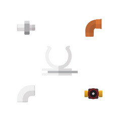 Flat icon industry set of conduit tap iron and vector