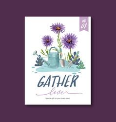 Flower garden poster design with aster flowers vector
