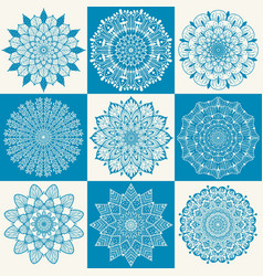 Flower mandala set vector
