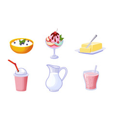 fresh delicious dairy products set milk ice vector image