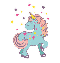 funny and hapy colored cartoon style unicorn with vector image