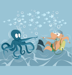 Funny underwater situation vector