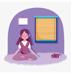 Girl meditation pose yoga activity sport exercise vector