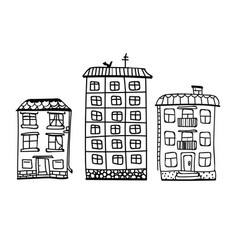 hand drawn building sketch houses of black vector image