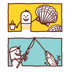 hand drawn cartoon characters - shells fishing vector image