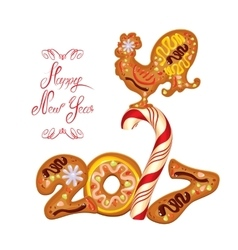 Hand written calligraphic text Happy New Year 2017 vector