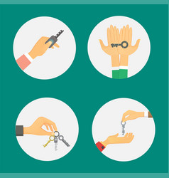 hands holding key apartment selling human gesture vector image