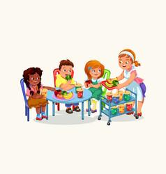 happy children having dinner vector image
