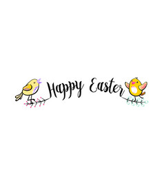 happy easter greeting handwritten text background vector image