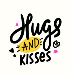hugs and kisses banner with hand drawn lips stars vector image