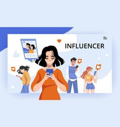 Influencer digital marketing campaign social vector