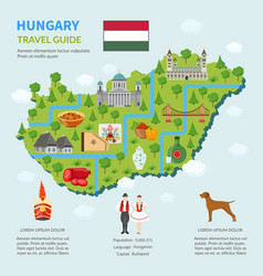 Infographic map of hungary vector
