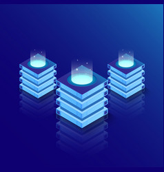 Isometric server room and big data processing vector