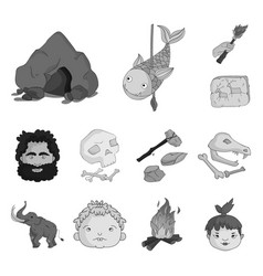 Life in the stone age monochrome icons in set vector
