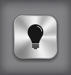 Light bulb icon - metal app button vector