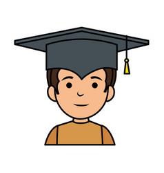 Little schoolboy with graduation hat vector