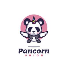logo panda unicorn simple mascot style vector image
