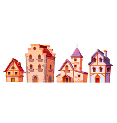 Medieval buildings house town architecture set vector