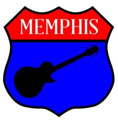 Memphis guitar highway sign vector