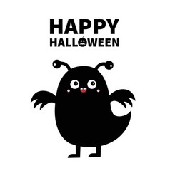 monster black silhouette happy halloween cute vector image