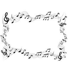 music notes square frame background vector image