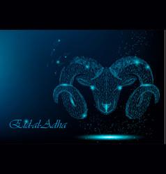 muslim holiday eid al-adha polygonal ram vector image