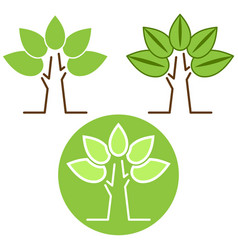 nature green tree icon set vector image