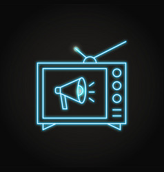 Neon tv advertising icon in line style vector