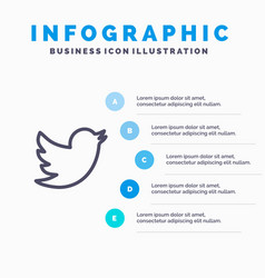 Network social twitter line icon with 5 steps vector