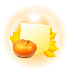 note with autumn leaves and pumpkin vector image