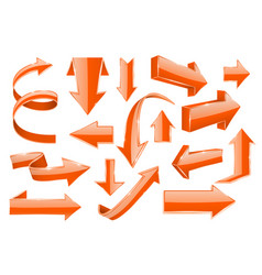 Orange arrows set of shiny 3d icons vector